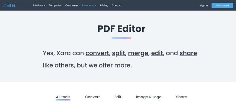 Xara Cloud PDF Editor