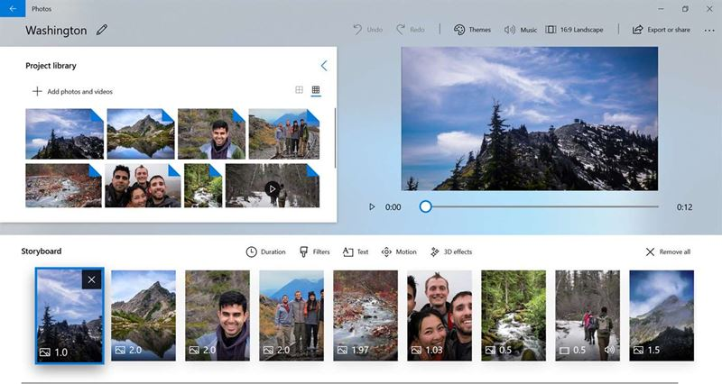 Microsoft Photos video editing software free