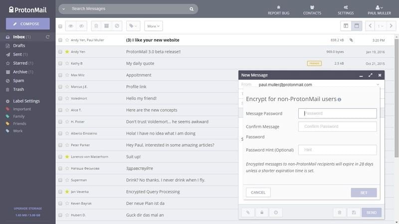 ProtonMail secure email and encrypted email service