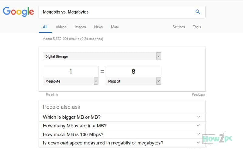 megabits to megabytes