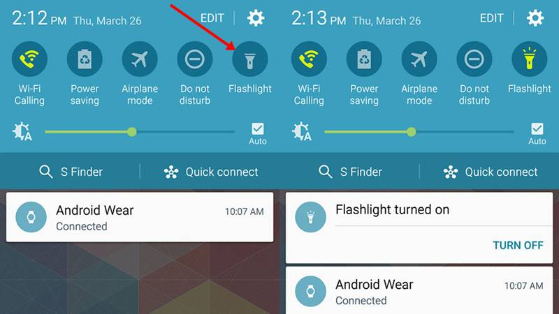 Turn on Flashlight Android