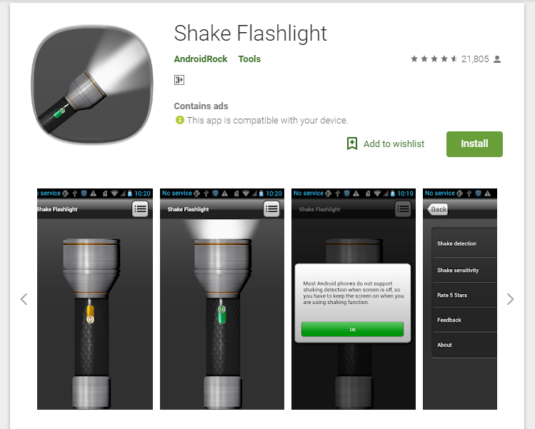 Use a dedicated app Turn on Flashlight