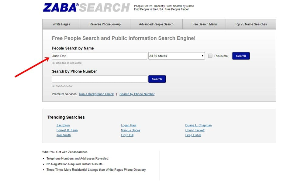 ZabaSearch-Name Search