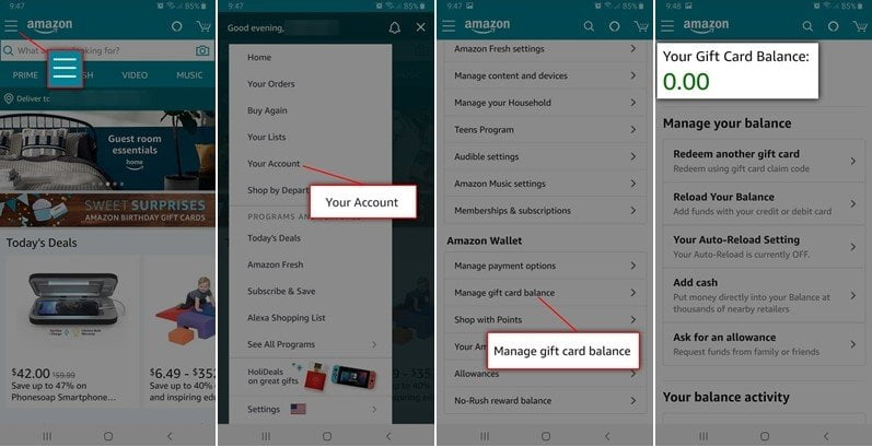 How to Check Amazon Gift Card Balance on a mobile device