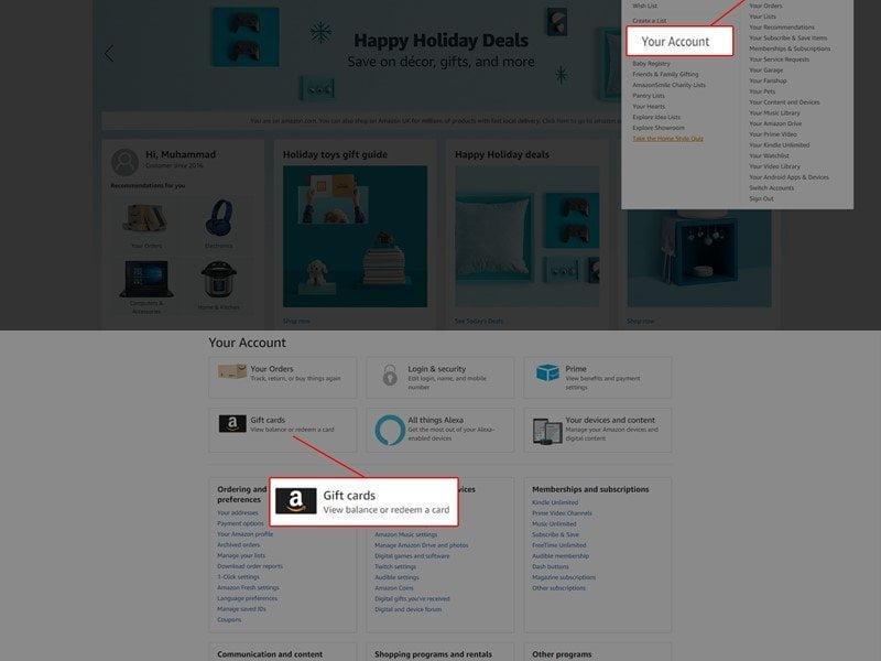 How to Check Amazon Gift Card Balance on desktop 2